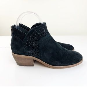 Vince Camuto Black Suede Perforated Booties